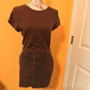 Brown Fringed Corduroy Mini Skirt